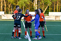Captain Chloe Van Mingeroet (17) of Eendracht Aalst gives a fist bump to assistant referee Joline Delcroix before a female soccer game between  Racing Genk Ladies and Eendracht Aalst on the 5 th matchday of play off 2 in the 2020 - 2021 season of Belgian Scooore Womens Super League , friday 7 th of May 2021  in Genk , Belgium . PHOTO SPORTPIX.BE | SPP | JILL DELSAUX