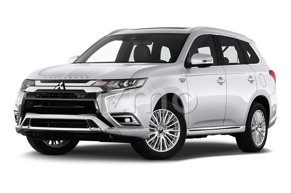 Stock pictures of low aggressive front three quarter view of a 2018 Mitsubishi Outlander PHEV Instyle 5 Door SUV