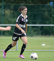 20150801 - WESTKAPELLE , BELGIUM : Gent's Amber De Priester  pictured during a friendly soccer match with the women team of AA Gent Ladies , during the preparation for the 2015-2016 SUPERLEAGUE season, Saturday 1 August 2015 . PHOTO DAVID CATRY