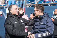 FOXBOROUGH, MA - MARCH 7: Bruce Arena and Raphael Wicky before the game during a game between Chicago Fire and New England Revolution at Gillette Stadium on March 7, 2020 in Foxborough, Massachusetts.