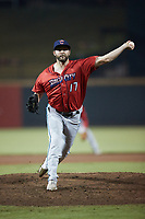 Jacksonville Jumbo Shrimp relief pitcher Jake Fishman (17) in action against the Gwinnett Stripers at CoolRay Field on October 1, 2021 in Lawrenceville, Georgia. (Brian Westerholt/Four Seam Images)