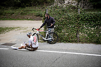 Jaakko Hänninen (FIN/AG2R Citroen) crashed<br /> <br /> 115th Il Lombardia 2021 (1.UWT)<br /> One day race from Como to Bergamo (ITA/239km)<br /> <br /> ©kramon