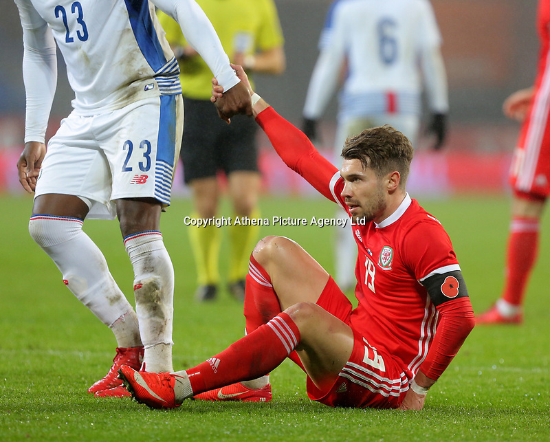 Tom Bradshaw of Wales during the international friendly soccer match between Wales and Panama at Cardiff City Stadium, Cardiff, Wales, UK. Tuesday 14 November 2017.