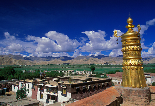 Brass Bell Tower and buildings at Palkhor Chode Monastery, circa 15th century, Gyantse, Tibet, Tibetan Autonomous Region, China