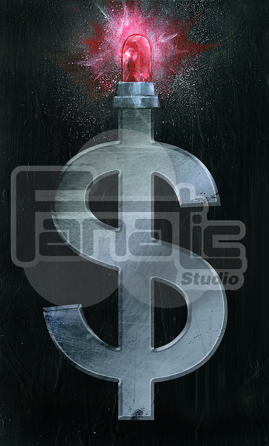 Illustrative image of dollar sign and siren representing economic failure