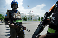 The UN policemen from Nigeria guard the Presidential Palace in Port-au-Prince, Haiti. The United Nations Stabilization Mission In Haiti (MINUSTAH) is a peacekeeping mission that has been installed in Haiti in 2004 by the United Nations. In spite of the undoubted efforts that have been made by the UN, MINUSTAH soldiers became a symbol of the occupation and therefore they are generally not welcomed by the Haitian population.