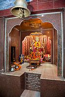 India, Dehradun.  Shrine to the Goddess Maa Durga, Riding a Tiger, Armed to Destroy Demons.  Tapkeshwar Hindu Temple.