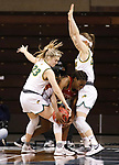 SIOUX FALLS, SD - MARCH 7: Uju Ezeudu #24 of the Denver Pioneers dries to control the ball as Olivia Skibiel #23 and Michelle Gaislerova #22 of the North Dakota State Bison during the Summit League Basketball Tournament at the Sanford Pentagon in Sioux Falls, SD. (Photo by Richard Carlson/Inertia)