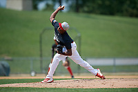 Pitcher Juan Carela (14) during the Dominican Prospect League Elite Underclass International Series, powered by Baseball Factory, on August 1, 2017 at Silver Cross Field in Joliet, Illinois.  (Mike Janes/Four Seam Images)