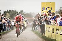 Jasper Stuyven (BEL/Trek Segafredo) in pursuit of the race leaders. <br /> <br /> <br /> 116th Paris-Roubaix (1.UWT)<br /> 1 Day Race. Compiègne - Roubaix (257km)