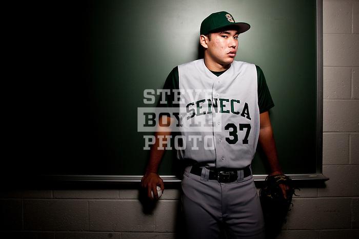 Seneca High School baseball pitcher Kevin Comer on January 26, 2011 in Tabernacle, New Jersey...2011 © Steve Boyle