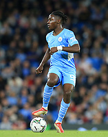 21st September 2021; Etihad Stadium,Manchester, England; EFL Cup Football Manchester City versus Wycombe Wanderers; Romeo Lavia of Manchester City controls the ball