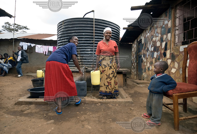 Women collecting water from a tank in the Kibera slums. Many diseases in developing countries are a direct or indirect result of drinking dirty water. One simple solution to this health problem may be an initiative by a Swiss researcher, Martin Wegelin, who is convinced that sunlight (UV radiation) can kill most bacterials. He claims one day of exposure to sunlight makes the water from a plastic bottle bacteria free..