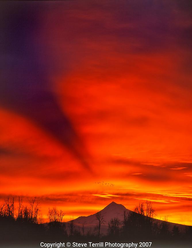 Sunrise with mountain shadow over Mt Hood Oregon