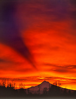 Sunrise with mountain shadow over Mt Hood Oregon