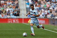 ST. PAUL, MN - AUGUST 21: Luis Martins #36 of Sporting Kansas City kicks the ball during a game between Sporting Kansas City and Minnesota United FC at Allianz Field on August 21, 2021 in St. Paul, Minnesota.