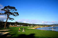 The famous final Hole number 18 at the expensive Pebble Beach Golf Course in Pebble Beach California one of the most famous golf courses in the worl