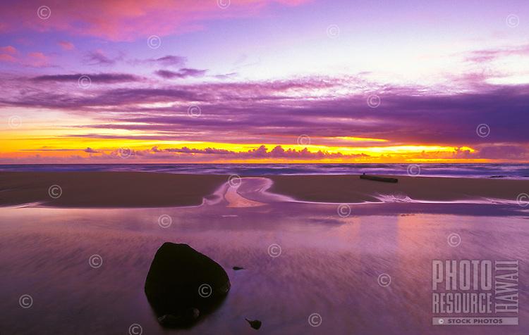 Sunset and stream at sunset beach near Kapaa, Kauai