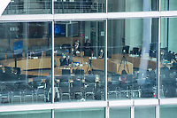 """Letzte Sitzung des Untersuchungsausschusses """"PKW-Maut"""" des Deutschen Bundestag am Donnerstag den 28. Februar 2021.<br /> Als einziger Zeuge war erneut Bundesverkehrsminister Andreas Scheuer, CSU, vorgeladen.<br /> Der Ausschuss wurde zur Aufklaerung der Mautvertraege zwischen dem Verkehrsministerium unter Leitung von Andreas Scheuer und den Firmen Kapsch und CTS Eventim eingerichtet.<br /> Der Maut-Untersuchungsausschuss soll das Verhalten der Regierung und besonders des Verkehrsministers bei der Vorbereitung und der Vergabe der Betreibervertraege """"umfassend aufklaeren"""".<br /> Verkehrsminister Scheuer betonte vor der Sitzung wiederholt, dass alles mit rechten Dingen zugegangen sei.<br /> Im Bild: Der Ausschuss vernimmt Verkehrsminister Scheuer (Mitte am Tisch).<br /> 28.1.2021, Berlin<br /> Copyright: Christian-Ditsch.de"""