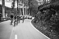 early breakaway group up the first catagorised climb of the day; the Côte de La Roche en Ardenne<br /> <br /> 103rd Liège-Bastogne-Liège 2017 (1.UWT)<br /> One Day Race: Liège › Ans (258km)