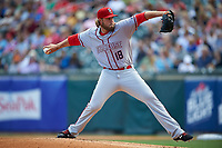 Syracuse Chiefs relief pitcher Cody Satterwhite (18) during a game against the Buffalo Bisons on July 3, 2017 at Coca-Cola Field in Buffalo, New York.  Buffalo defeated Syracuse 6-2.  (Mike Janes/Four Seam Images)