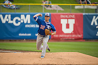 Matt West (32) relief pitcher of the Oklahoma City Dodgers warms up in the bullpen during the game against the Salt lake Bees in Pacific Coast League action at Smith's Ballpark on May 27, 2015 in Salt Lake City, Utah.  (Stephen Smith/Four Seam Images)