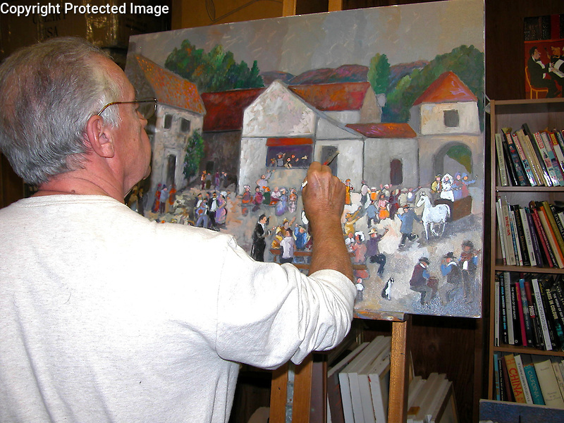 """Working on """"Wedding at the Vintner's Inn"""", 30x40 Acrylic on Canvas. Details...details...."""