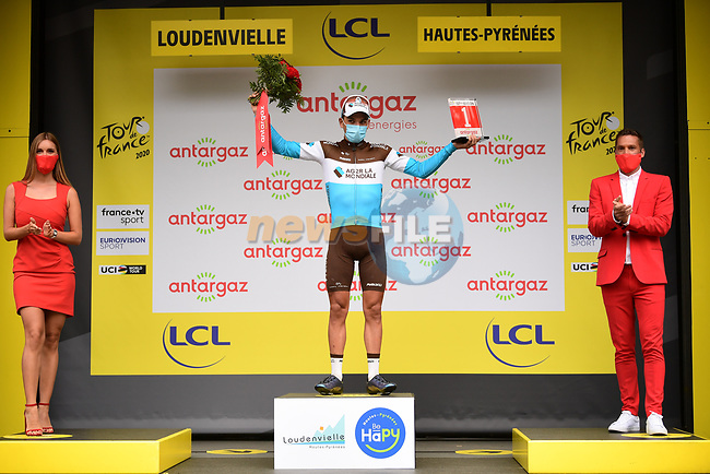 Nans Peters (FRA) AG2R La Mondiale wins solo Stage 8 and also awarded the day's combativity prize of Tour de France 2020, running 141km from Cazeres-sur-Garonne to Loudenvielle, France. 5th September 2020. <br /> Picture: ASO/Pauline Ballet | Cyclefile<br /> All photos usage must carry mandatory copyright credit (© Cyclefile | ASO/Pauline Ballet)
