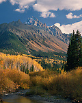 Mount Sneffels and Dallas Creek with Aspen trees, Telluride, Colorado, USA John offers autumn photo tours throughout Colorado.