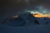 Grandes Jorasses and Dent du Géant at sunrise in the Mont Blanc massif, French Alps.