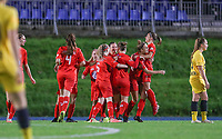 Woluwe players celebrate their team's goal during a female soccer game between FC Femina WS Woluwe and Standard Femina de Liege on the fourth match day of the 2020 - 2021 season of Belgian Womens Super League , Friday 8th of October 2020  in Liege , Belgium . PHOTO SPORTPIX.BE | SPP | SEVIL OKTEM