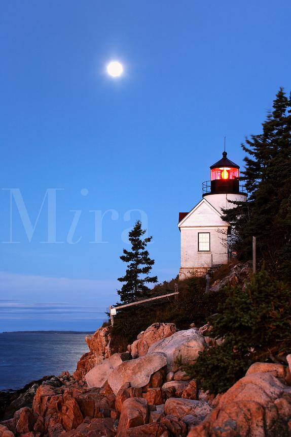 Bass Harbor Light overlooking the Atlantic Ocean, Bass Harbor, Acadia National Park, Hancock County, Maine, US