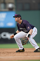 First baseman Triston Casas (38) of the Greenville Drive plays defense in a game against the Delmarva Shorebirds on Friday, August 2, 2019, in the continuation of rain-shortened game begun August 1, at Fluor Field at the West End in Greenville, South Carolina. Delmarva won, 8-5. (Tom Priddy/Four Seam Images)