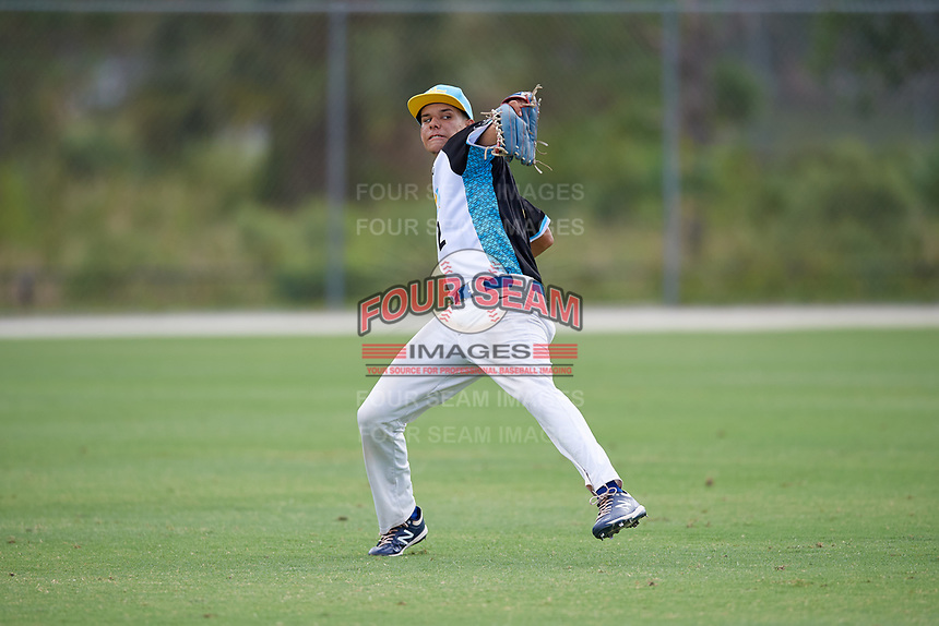 Joshua Baez (2) during the WWBA World Championship at the Roger Dean Complex on October 10, 2019 in Jupiter, Florida.  Joshua Baez attends Dexter Southfield High School in Boston, MA and is committed to Vanderbilt.  (Mike Janes/Four Seam Images)