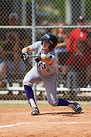 New York University Violets center fielder Jack Walter (8) lays down a bunt during a game against the Edgewood Eagles on March 14, 2017 at Terry Park in Fort Myers, Florida.  NYU defeated Edgewood 12-7.  (Mike Janes/Four Seam Images)