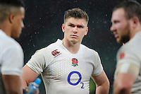 Owen Farrell of England looks disappointed after the QBE International match between England and New Zealand at Twickenham Stadium on Saturday 8th November 2014 (Photo by Rob Munro)