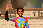 Desiet Kidane of Eritrea at sign on for the start of the Women Elite Road Race of the UCI World Championships 2019 running 149.4km from Bradford to Harrogate, England. 28th September 2019.<br /> Picture: Eoin Clarke | Cyclefile<br /> <br /> All photos usage must carry mandatory copyright credit (© Cyclefile | Eoin Clarke)