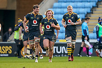 6th February 2021; Ricoh Arena, Coventry, West Midlands, England; English Premiership Rugby, Wasps versus Northampton Saints; Tommy Taylor of Wasps runs back to start the game after scoring a try in the 29th minute to make the score 17-22 after a successful conversion