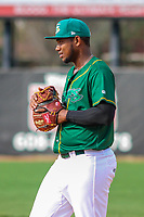 Beloit Snappers first baseman Miguel Mercedes (7) during a Midwest League game against the Peoria Chiefs on April 15, 2017 at Pohlman Field in Beloit, Wisconsin.  Beloit defeated Peoria 12-0. (Brad Krause/Four Seam Images)
