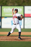 Danville Braves relief pitcher Raymar Navarro (52) in action against the Princeton Rays at American Legion Post 325 Field on June 25, 2017 in Danville, Virginia.  The Braves walked-off the Rays 7-6 in 11 innings.  (Brian Westerholt/Four Seam Images)