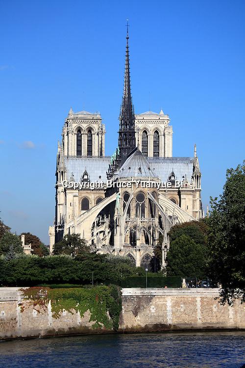 View of east end of Notre Dame Notre-Dame cathedral. city of Paris. Paris. France