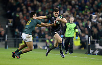 Saturday 11th November 2017; Ireland vs South Africa<br /> Jacob Stockdale is tackled by Damian de Allende during the Guinness Autumn Series between Ireland and South Africa at the Aviva Stadium, Lansdowne Road, Dublin, Ireland.  Photo by DICKSONDIGITAL