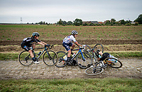 crash involving Sara Penton (SWE/Drops - Le Col)<br /> <br /> Inaugural Paris-Roubaix Femmes 2021 (1.WWT)<br /> One day race from Denain to Roubaix (FRA)(116.4km)<br /> <br /> ©kramon