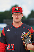 Batavia Muckdogs pitcher Brent Wheatley (23) poses for a photo before a game against the Tri-City ValleyCats on July 15, 2017 at Dwyer Stadium in Batavia, New York.  Tri-City defeated Batavia 5-4.  (Mike Janes/Four Seam Images)
