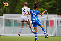 Zenia Mertens (6) of OHL and Jolet Lommen (9) of AA Gent in action during a female soccer game between Oud Heverlee Leuven and AA Gent Ladies on the 9 th matchday of play off 1 in the 2020 - 2021 season of Belgian Womens Super League , saturday 22 nd of May 2021  in Heverlee , Belgium . PHOTO SPORTPIX.BE | SPP | SEVIL OKTEM