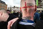 © Joel Goodman - 07973 332324 . 02/04/2011 . Blackburn , UK . A man with an EDL Nottingham Division tattoo . The English Defence League ( EDL ) hold a demonstration in Blackburn . Photo credit : Joel Goodman
