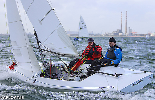The numerically largest One-Design keelboat class currently racing on the bay is the Flying Fifteen, with former NYC Commodore Ronan Beirne seen here crewing for David Mulvin. Photo: Afloat.ie/David O'Brien