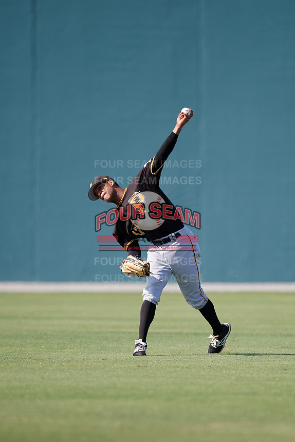 Pittsburgh Pirates center fielder Michael de la Cruz (37) throws back to the infield during a minor league Extended Spring Training intrasquad game on April 1, 2017 at Pirate City in Bradenton, Florida.  (Mike Janes/Four Seam Images)