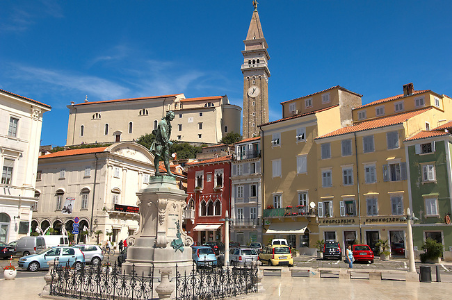 Tartini Square and statue with St Georges Church behind. Piran , Slovenia