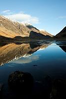 Schottland, Bezirk Agyll and Bute, <br /> schottische Highlands, Wander und Skigebiet Glen Coe, Blick ins Tal von Westen, Europa, Grossbritannien, 16.02.2010; HF; <br /> <br /> (Bildtechnik: sRGB, <br /> 72.00 MByte vorhanden)<br /> <br /> <br /> Engl.: Europe, Great Britain, Scotland, Argyll and Bute, highlands, Glen Coe, valley, mountains, sky, landscape, February 2010